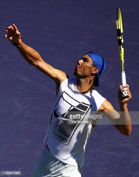 Rafael Nadal of Spain serves during a practice session on Day 2 of the BNP Paribas Open at the Indian Wells Tennis Garden on March 04 2019 in Indian...
