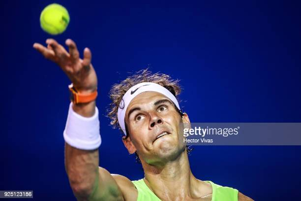 Rafael Nadal of Spain serves during a training session as part of the Telcel Mexican Open 2018 at Mextenis Stadium on February 26 2018 in Acapulco...