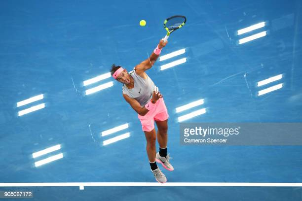 Rafael Nadal of Spain serves during his first round match against Victor Estrella Burgos of Dominican Republic on day one of the 2018 Australian Open...
