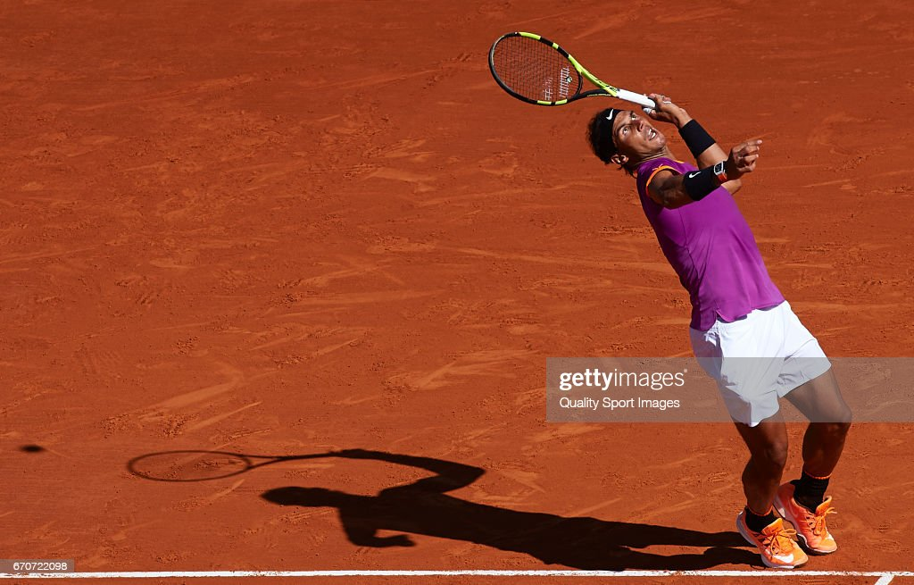 Rafael Nadal of Spain serves during his match against Alexander Zverev of Germany during day five of the ATP Monte Carlo Rolex Masters Tennis at Monte-Carlo Sporting Club on April 20, 2017 in Monte-Carlo, Monaco.