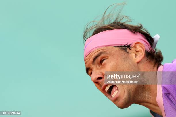 Rafael Nadal of Spain serves during his match against Andrey Rublev of Russia during day six of the Rolex Monte-Carlo Masters at Monte-Carlo Country...