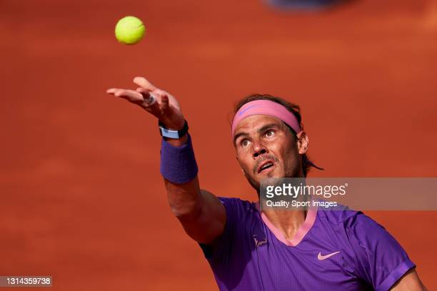 Rafael Nadal of Spain serves during his Men's Singles final match against Stefanos Tsitsipas of Greece on day seven of the Barcelona Open Banc...
