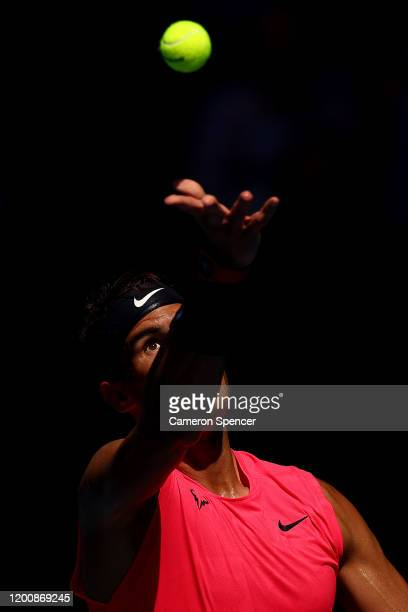 Rafael Nadal of Spain serves during his Men's Singles first round match against Hugo Dellien of Bolivia on day two of the 2020 Australian Open at...