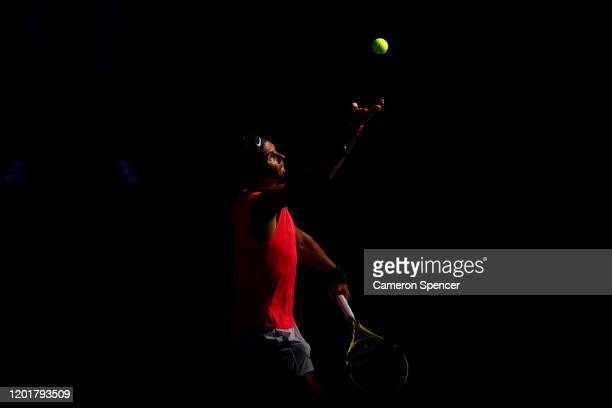 Rafael Nadal of Spain serves during his Men's Singles third round match against Pablo Carreno Busta of Spain on day six of the 2020 Australian Open...