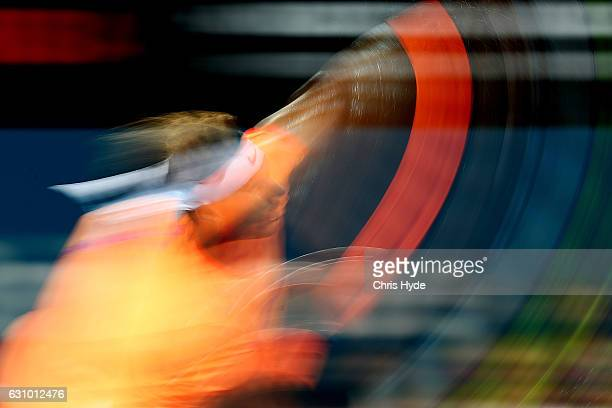 Rafael Nadal of Spain serves during his quarter final match against Mischa Zverev of Germany during day five of the 2017 Brisbane International at...