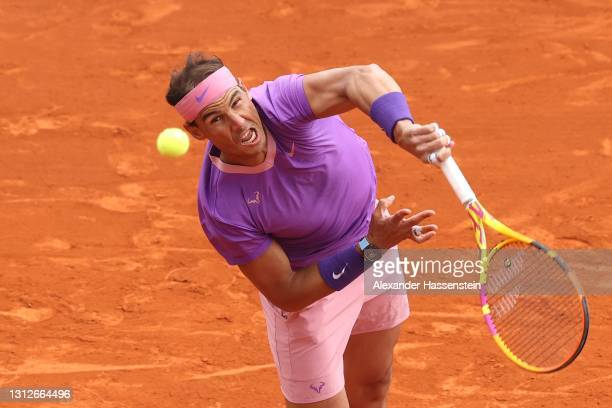 Rafael Nadal of Spain serves during his quarterfinal match against Grigor Dimitrov of Bulgaria during day five of the Rolex Monte-Carlo Masters at...