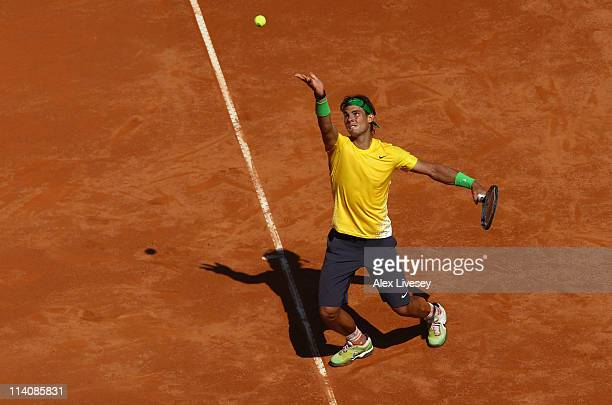 Rafael Nadal of Spain serves during his second round match against Paolo Lorenzi of Italy during day four of the Internazionali BNL d'Italia at the...