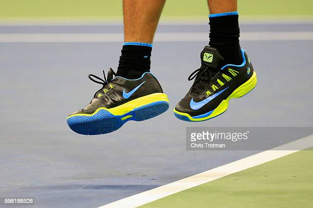 Rafael Nadal of Spain serves during his second round Men's Singles match against Andreas Seppi of Italy on Day Three of the 2016 US Open at the USTA...