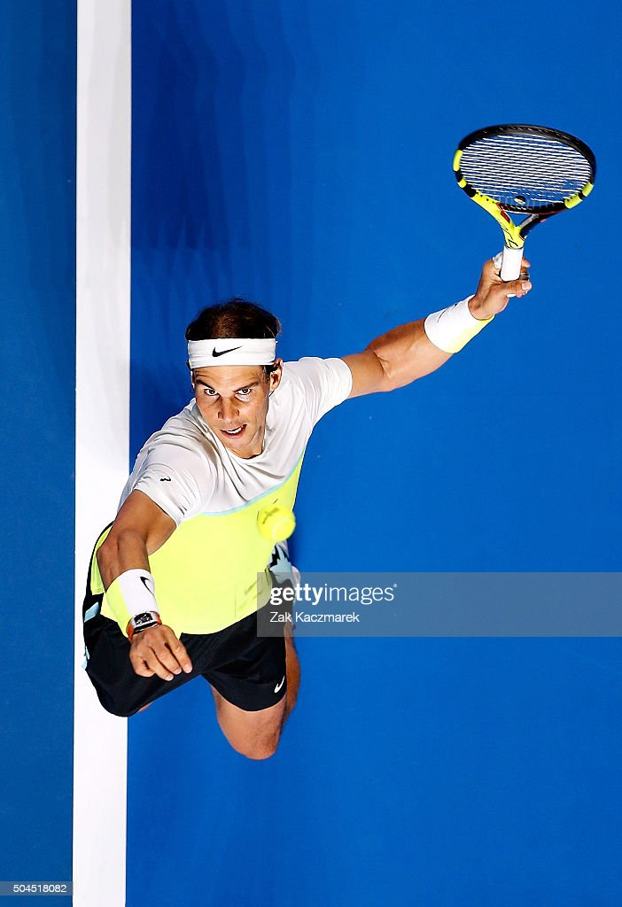Rafael Nadal of Spain serves during the FAST4Tennis exhibition match between Rafael Nadal and Lleyton Hewitt at Allphones Arena on January 11, 2016 in Sydney, Australia.