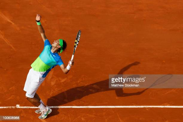 Rafael Nadal of Spain serves during the men's singles first round match between Rafael Nadal of Spain and Gianni Mina of France on day three of the...