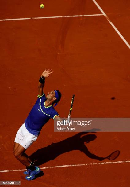Rafael Nadal of Spain serves during the second roun match against Robin Haase of The Netherlands on day four of the 2017 French Open at Roland Garros...