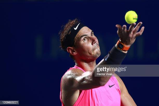 Rafael Nadal of Spain serves during the singles match against Taylor Fritz of the United States during Day 6 of the ATP Mexican Open at Princess...