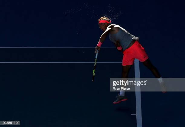Rafael Nadal of Spain serves his second round match against Leonardo Mayer of Argentina on day three of the 2018 Australian Open at Melbourne Park on...