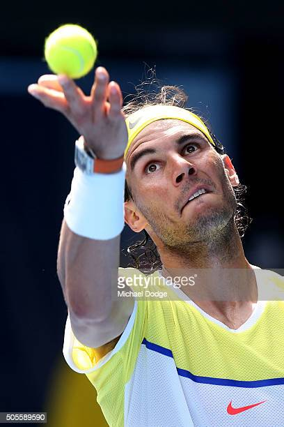 Rafael Nadal of Spain serves in his first round match against Fernando Verdasco of Spain during day two of the 2016 Australian Open at Melbourne Park...