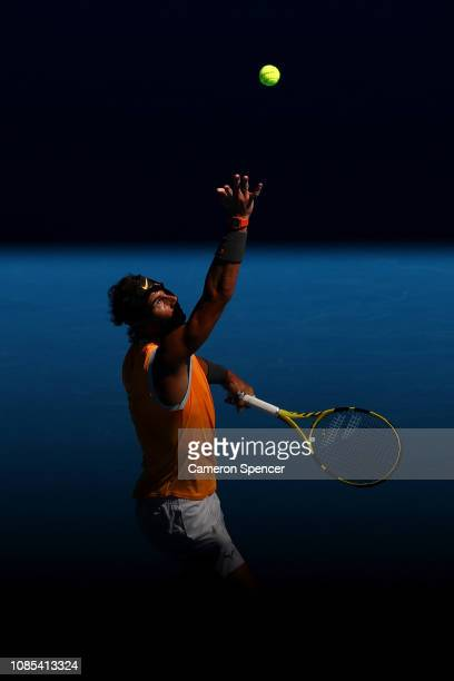 Rafael Nadal of Spain serves in his fourth round match against Tomas Berdych of the Czech Republic during day seven of the 2019 Australian Open at...
