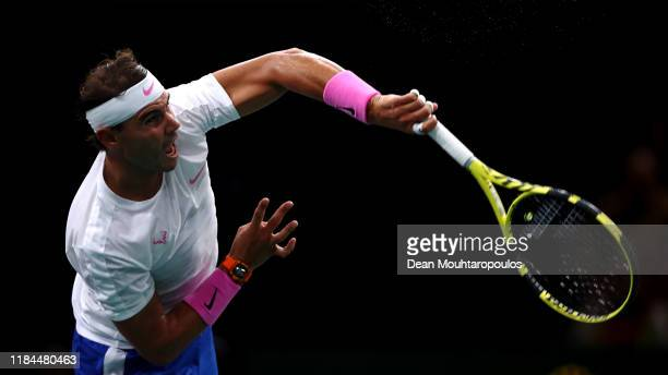 Rafael Nadal of Spain serves in his match against Adrian Mannarino of France on day 3 of the Rolex Paris Masters, part of the ATP World Tour Masters...