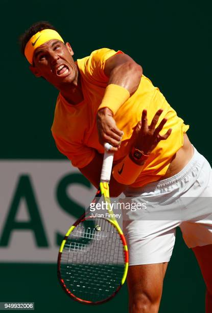 Rafael Nadal of Spain serves in his match against Kei Nishikori of Japan during day eight of ATP Masters Series Monte Carlo Rolex Masters at...