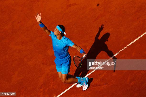 Rafael Nadal of Spain serves in his Men's Singles match against Jack Sock of the United States on day nine of the 2015 French Open at Roland Garros...