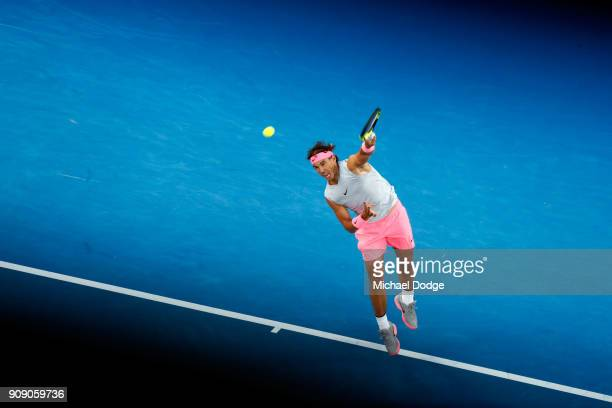 Rafael Nadal of Spain serves in his quarterfinal match against Marin Cilic of Croatia on day nine of the 2018 Australian Open at Melbourne Park on...