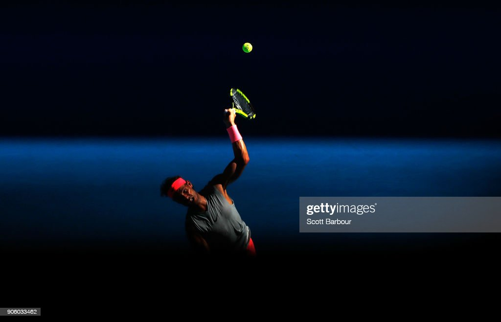 Rafael Nadal of Spain serves in his second round match against Leonardo Mayer of Argentina on day three of the 2018 Australian Open at Melbourne Park on January 17, 2018 in Melbourne, Australia.