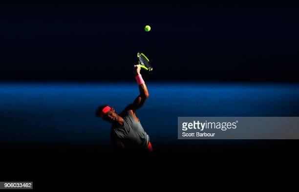 Rafael Nadal of Spain serves in his second round match against Leonardo Mayer of Argentina on day three of the 2018 Australian Open at Melbourne Park...