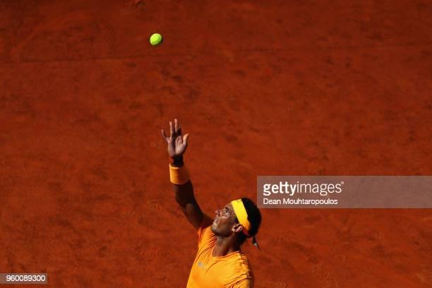 Rafael Nadal of Spain serves in his semi final match against Novak Djokovic of Serbia during day 7 of the Internazionali BNL d'Italia 2018 tennis at...