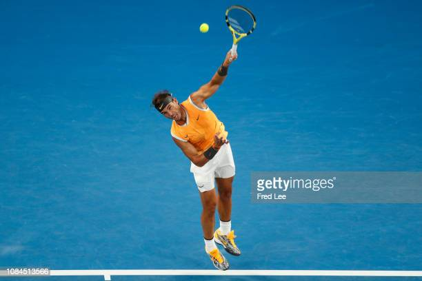 Rafael Nadal of Spain serves in his third round match against Alex De Minaur of Australia during day five of the 2019 Australian Open at Melbourne...
