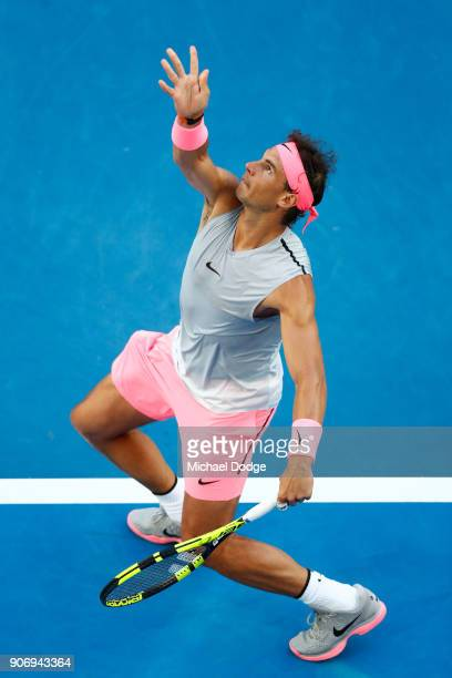 Rafael Nadal of Spain serves in his third round match against Damir Dzumhur of Bosnia and Herzogovina on day five of the 2018 Australian Open at...