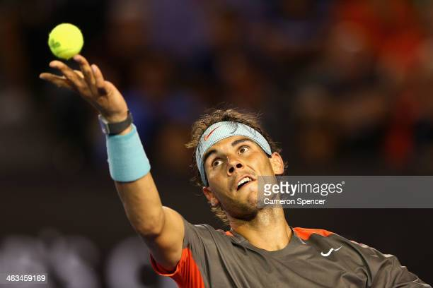 Rafael Nadal of Spain serves in his third round match against Gael Monfils of France during day six of the 2014 Australian Open at Melbourne Park on...