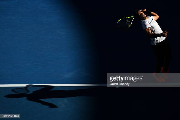 Rafael Nadal of Spain serves in his third round match against Alexander Zverev of Germany on day six of the 2017 Australian Open at Melbourne Park on...