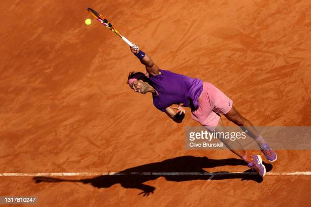 Rafael Nadal of Spain serves in their mens singles third round match against Denis Shapovalov of Canada during Day Six of the Internazionali BNL...