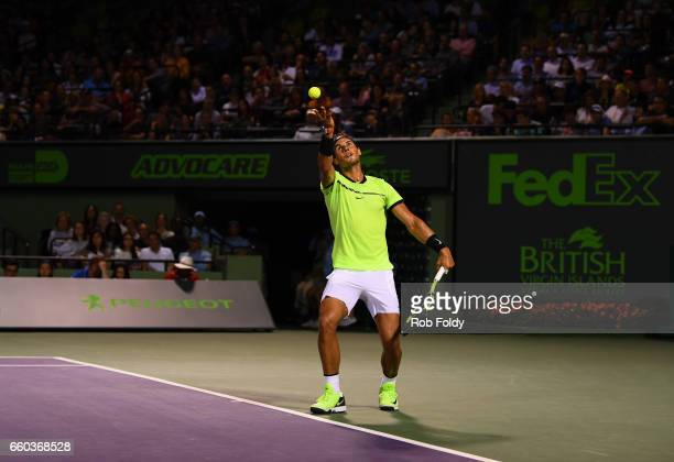 Rafael Nadal of Spain serves the ball during a match against Jack Sock at Crandon Park Tennis Center on March 29 2017 in Key Biscayne Florida