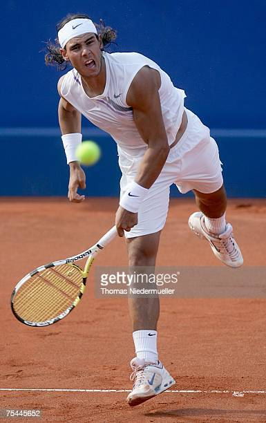 Rafael Nadal of Spain serves the ball to Alexander Waske of Germany during the MercedesCup at TC Weissenhof on July 17 2007 in Stuttgart Germany