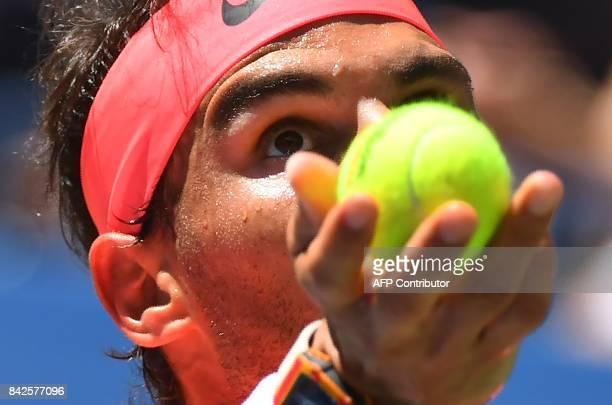 Rafael Nadal of Spain serves to Alexandr Dolgopolov of the Ukraine during their Round 4, US Open 2017, Men's Singles match at the USTA Billie Jean...