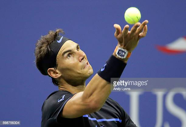 Rafael Nadal of Spain serves to Andrey Kuznetsov of Russia during his third round Men's Singles match on Day Five of the 2016 US Open at the USTA...