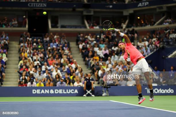 Rafael Nadal of Spain serves to Dusan Lajovic of Serbia Montenegro during their first round Men's Singles match on Day Two of the 2017 US Open at the...