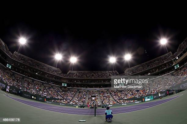 Rafael Nadal of Spain serves to Igor Sijsling of the Netherlands during day seven of the BNP Paribas Open at the Indian Wells Tennis Garden on March...