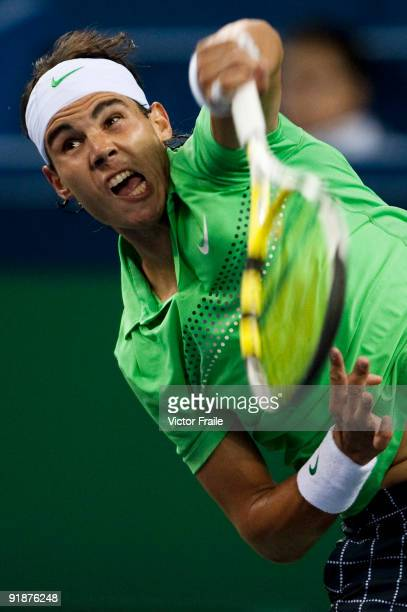 Rafael Nadal of Spain serves to James Blake of the United States during day four of 2009 Shanghai ATP Masters 1000 at the Qi Zhong Tennis Centre on...