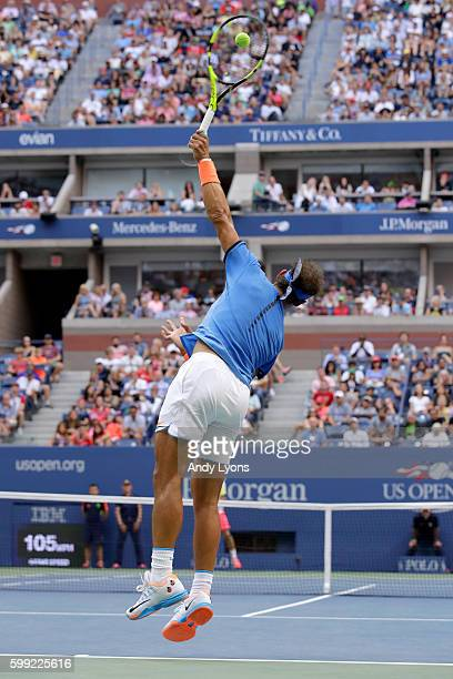 Rafael Nadal of Spain serves to Lucas Pouille of France during his fourth round Men's Singles match on Day Seven of the 2016 US Open at the USTA...