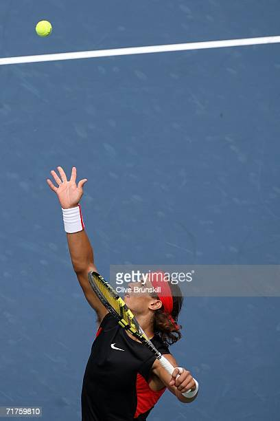 Rafael Nadal of Spain serves to Luis Horna of Peru during the US Open at the USTA Billie Jean King National Tennis Center in Flushing Meadows Corona...