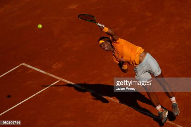 Rafael Nadal of Spain serves to Novak Djokovic of Serbia in the semi finals during day seven of the Internazionali BNL d'Italia 2018 tennis at Foro...