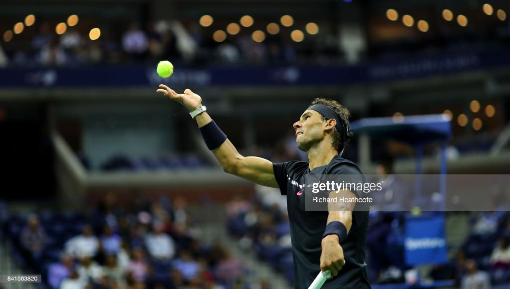 Rafael Nadal of Spain serves to Taro Daniel of Japan in their second round Men's Singles match on Day Four of the 2017 US Open at the USTA Billie Jean King National Tennis Center on August 31, 2017 in the Flushing neighborhood of the Queens borough of New York City.
