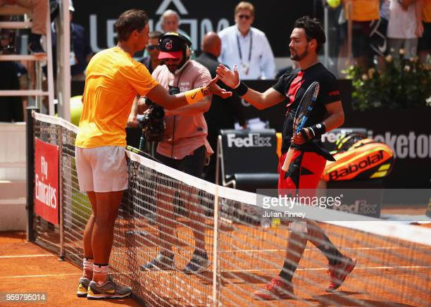Rafael Nadal of Spain shakes hands after defeating Fabio Fognini of Italy his Quarter Final match during day six of The Internazionali BNL d'Italia...