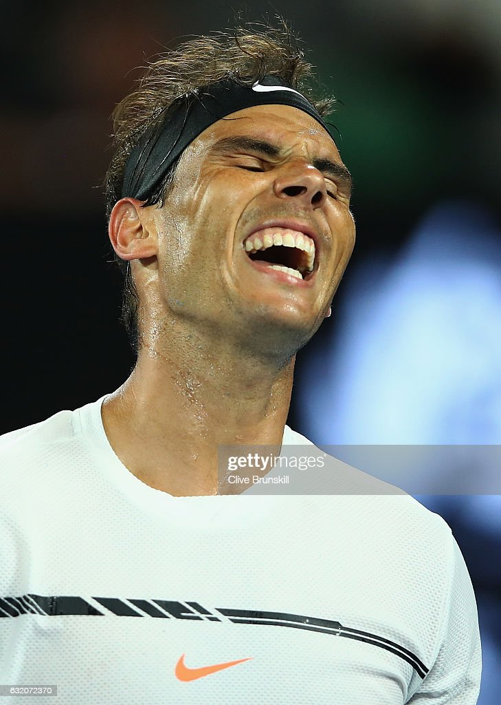 Rafael Nadal of Spain shows his emotions in his second round match against Marcos Baghdatis of Cyprus on day four of the 2017 Australian Open at Melbourne Park on January 19, 2017 in Melbourne, Australia.