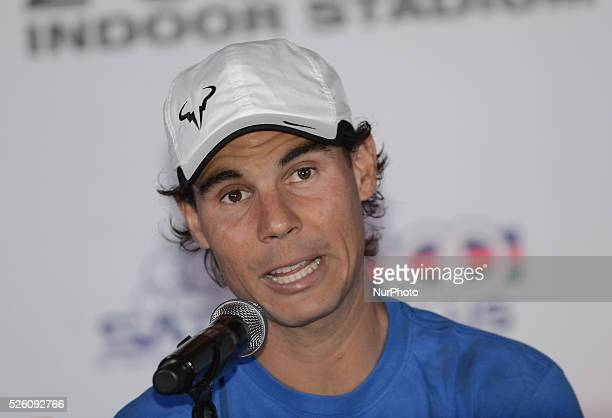 Rafael Nadal of Spain speaks during a press conference at a hotel in Bangkok Thailand on October 1 2015 Nadal will play with Novak Djokovic of Serbia...