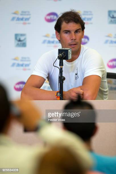 Rafael Nadal of Spain speaks during a press conference to announce his retirement from the Telcel Mexican Open 2018 at Mextenis Stadium on February...