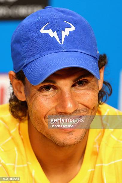 Rafael Nadal of Spain speaks to media during a press conference ahead of the 2016 Australian Open at Melbourne Park on January 16 2016 in Melbourne...