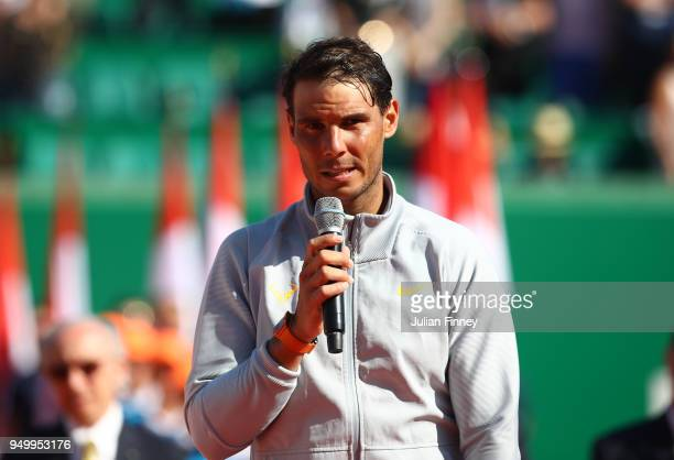 Rafael Nadal of Spain speaks to the crowd after winning the Monte Carlo Rolex Masters against Kei Nishikori of Japan during day eight of ATP Masters...