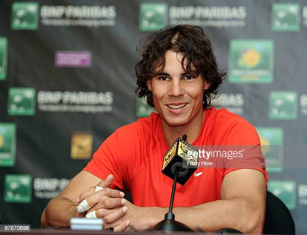 Rafael Nadal of Spain speaks to the media at a press conference during the BNP Paribas Open at the Indian Wells Tennis Garden on March 12, 2010 in...