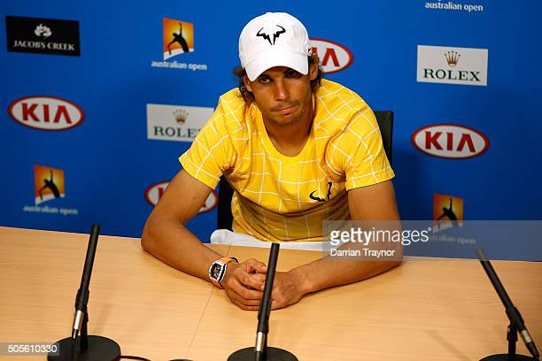 Rafael Nadal of Spain speaks to the media during a press conference following his loss to Fernando Verdasco of Spain during day two of the 2016...
